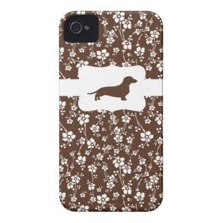 Brown&White w/Dachshund floral Capinhas iPhone 4