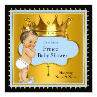 Brunette azul da coroa do menino do príncipe chá convite quadrado 13.35 x 13.35cm