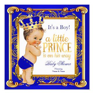 Brunette azul do ouro do damasco do príncipe chá convite quadrado 13.35 x 13.35cm