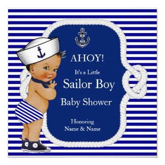 Brunette da listra azul de menino de marinheiro do convite quadrado 13.35 x 13.35cm