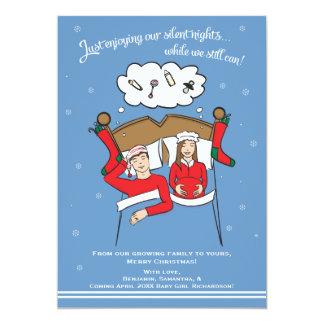 Brunette do anúncio da gravidez do cartão de Natal Convite 12.7 X 17.78cm