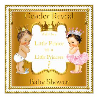 Brunette do chá de fraldas do príncipe princesa convite quadrado 13.35 x 13.35cm