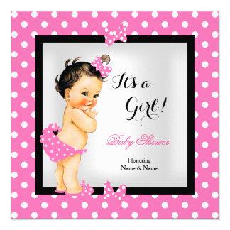 Brunette preto cor-de-rosa bonito da menina bonito convite quadrado 13.35 x 13.35cm