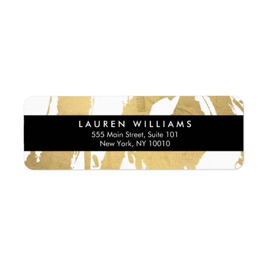 Brushstrokes abstratos do ouro do falso no branco etiqueta endereço de retorno