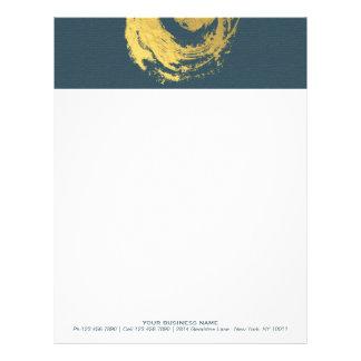 Brushstrokes do símbolo do ZEN elegante do azul & Papel Timbrado