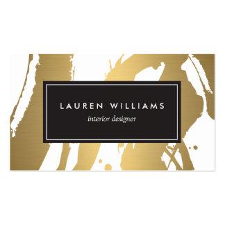 Brushstrokes elegantes e abstratos do ouro III Cartão De Visita