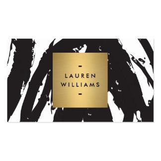 Brushstrokes pretos abstratos com logotipo do nome cartões de visita
