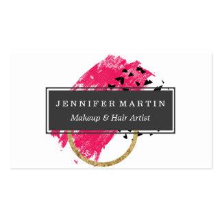 Brushstrokes pretos abstratos do ouro do rosa e do cartão de visita