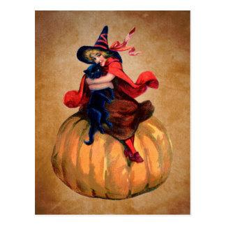 bruxa bonito e gato do Dia das Bruxas do vintage Cartão Postal