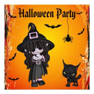 Bruxa bonito gatos bastões partido do Dia das Convites Personalizado