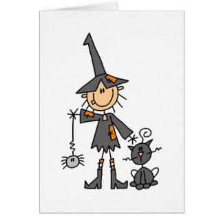 Bruxa com gato preto cartão comemorativo