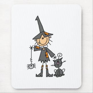 Bruxa com gato preto mouse pad