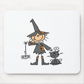 Bruxa com gato preto mousepads