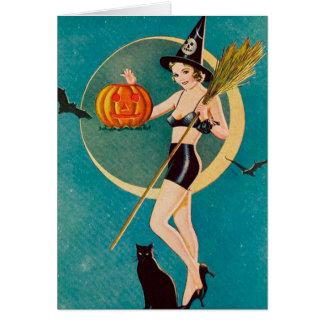 Bruxa da menina do Pin-Acima do Dia das Bruxas Cartão Comemorativo