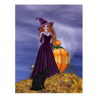 Bruxa de cabelo vermelha cartão postal