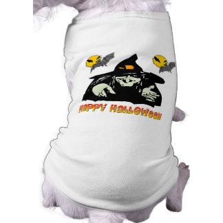 Bruxa do Dia das Bruxas Camisa Sem Mangas Para Cachorro