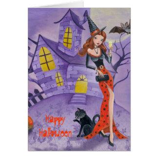 Bruxa do Dia das Bruxas - cartão sazonal
