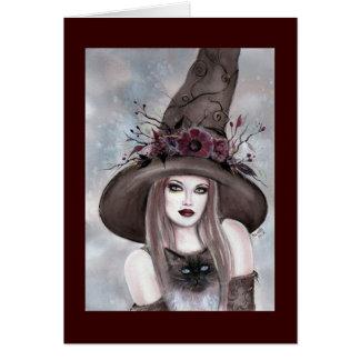 Cartão Bruxa do Dia das Bruxas com o cartão do gatinho