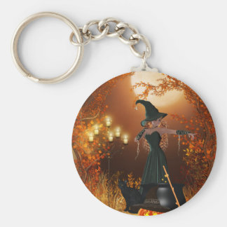 Bruxa do Dia das Bruxas do outono Chaveiro