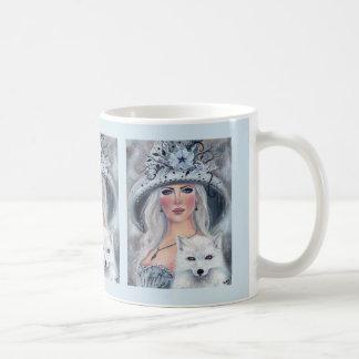 Bruxa do Dia das Bruxas e caneca de café do lobo