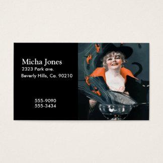 Bruxa do vintage que chama a comida para seu gato cartão de visitas
