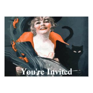Bruxa do vintage que chama a comida para seu gato convite 12.7 x 17.78cm