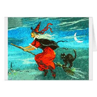 Bruxa do vôo cartão comemorativo
