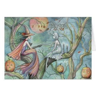 Bruxa e fantasma do cartão do Dia das Bruxas