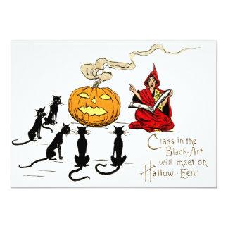 Bruxa que ensina a lanterna de Jack O do gato Convite 12.7 X 17.78cm