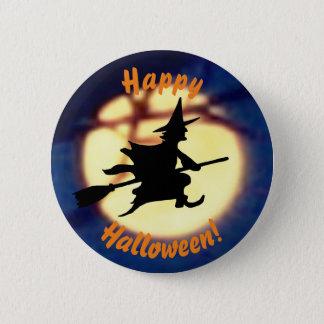 Bruxa sobre o botão do Dia das Bruxas da lua Bóton Redondo 5.08cm