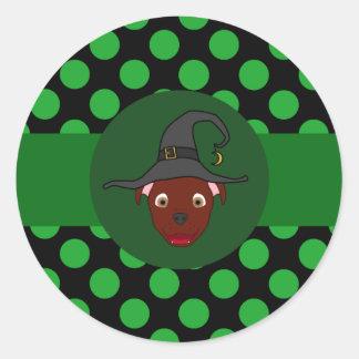 Bruxa vermelha de Pitbull com pontos verdes Adesivo
