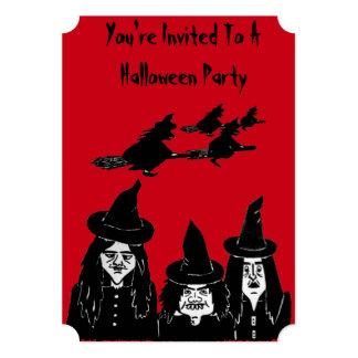 bruxas engraçadas assustadores e partido convite 12.7 x 17.78cm