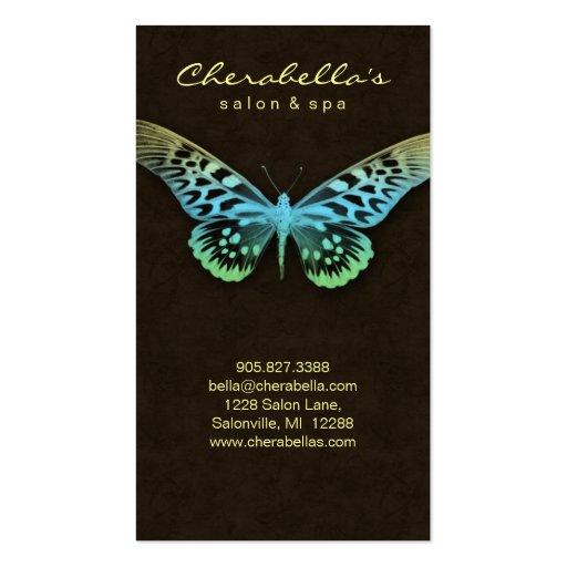 Brwn amarelo azul da borboleta dos termas do cartã modelos cartão de visita