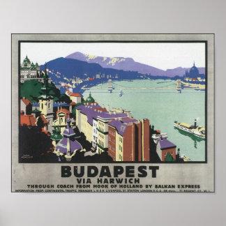 Budapest através do poster das viagens vintage de  pôster
