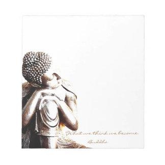 Buddha de descanso calmo com palavras da sabedoria bloco de anotação