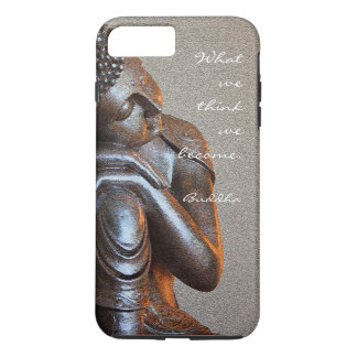 Buddha de prata calmo com palavras da sabedoria capa iPhone 7 plus