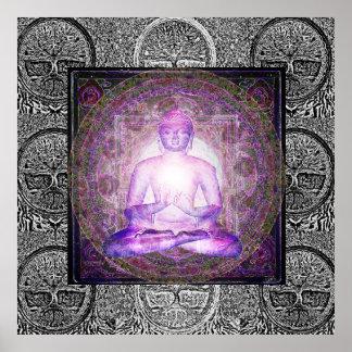 Buddha e árvore de vida pôster