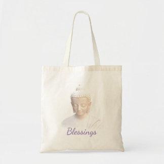 Buddha em meditativo sereno branco das bênçãos | sacola tote budget