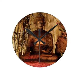 BUDDHA: Estátua de cobre Relógio Redondo