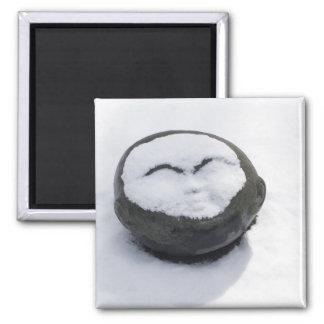 Buddha feliz com Facial da neve Ímã Quadrado