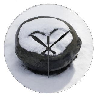 Buddha feliz com Facial da neve Relógio De Parede