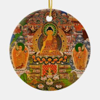 Budismo budista de Buddha que abençoa o Bohemian Ornamento De Cerâmica