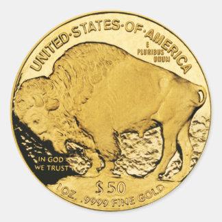 Búfalo americano da moeda de ouro $50 (bloco de adesivo redondo