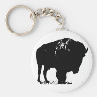 Búfalo preto & branco do bisonte do pop art chaveiro