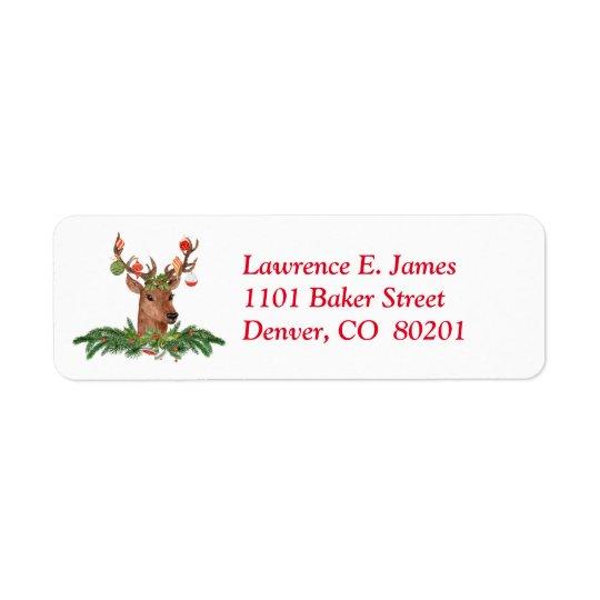 Bulbo da árvore dos cervos do Natal Etiqueta Endereço De Retorno