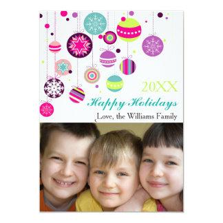 Bulbos coloridos do feriado da foto - cartão de convite 12.7 x 17.78cm