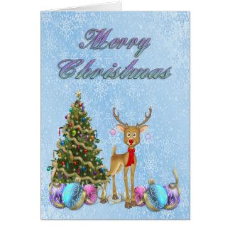 Bulbos do Natal da árvore de Natal da rena Cartão Comemorativo
