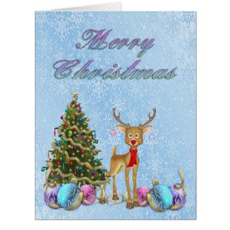 Bulbos do Natal da árvore de Natal da rena Cartão Comemorativo Grande