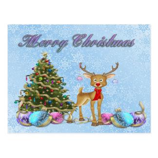 Bulbos do Natal da árvore de Natal da rena Cartão Postal