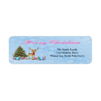 Bulbos do Natal da árvore de Natal da rena Etiqueta Endereço De Retorno